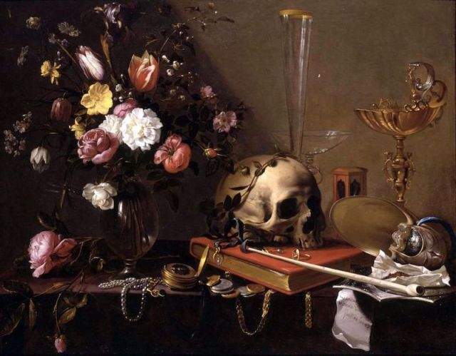 984px-Adriaen_van_Utrecht-_Vanitas_-_Still_Life_with_Bouquet_and_Skull
